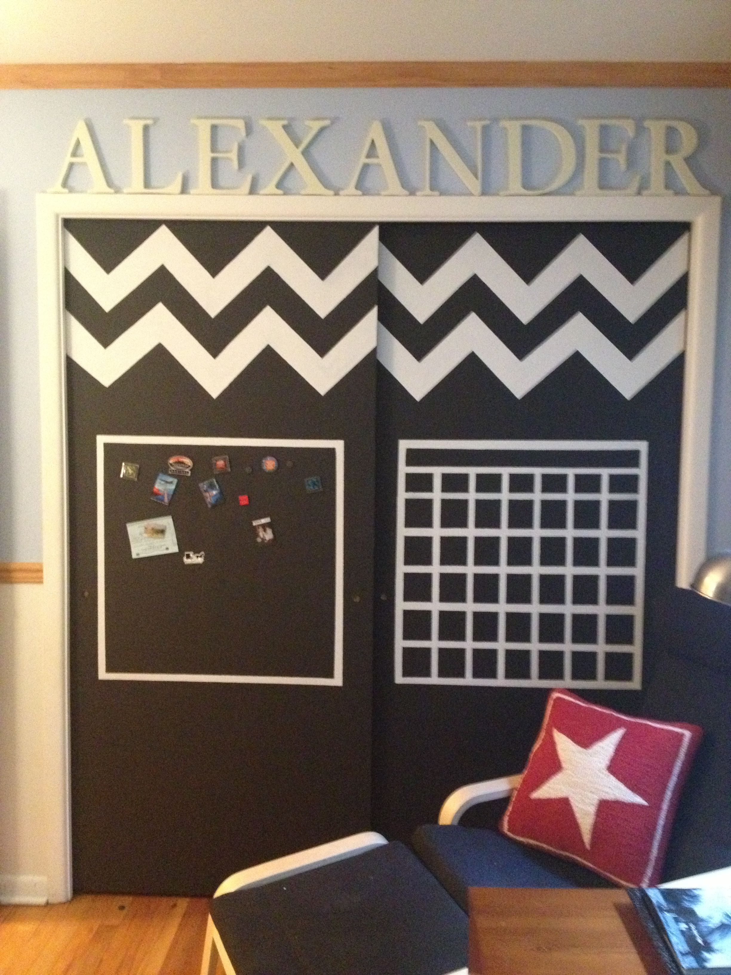 Chalkboard And Magnet Paint Closet Doors Made For My Nephew Stuff