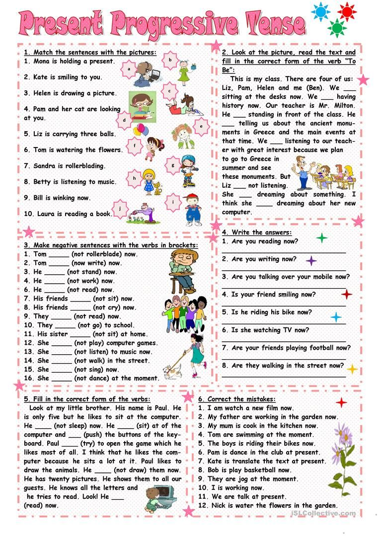 worksheet Spanish Present Progressive Worksheet present progressive tense 3th grade pinterest spanish lessons six exercises for practicing continuous reading speaking elementary