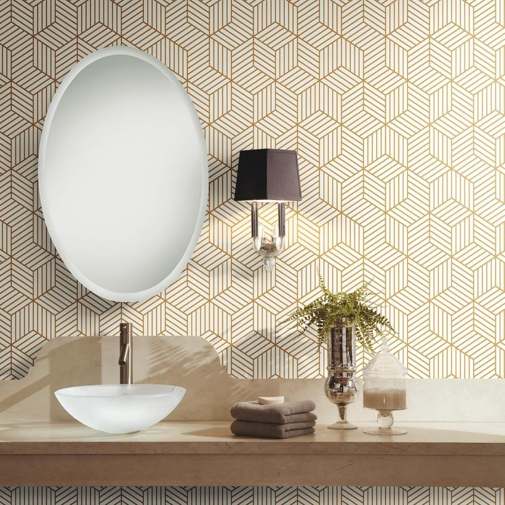 Stripped Hexagon Peel Stick Wallpaper In White And Gold By Roommates Room Wallpaper Mid Century Modern Wallpaper Powder Room Wallpaper
