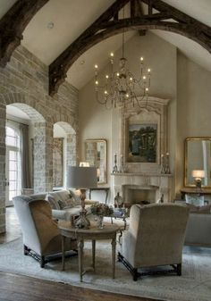 Beautiful Living Room With Vaulted Ceiling And Heavy Beams French