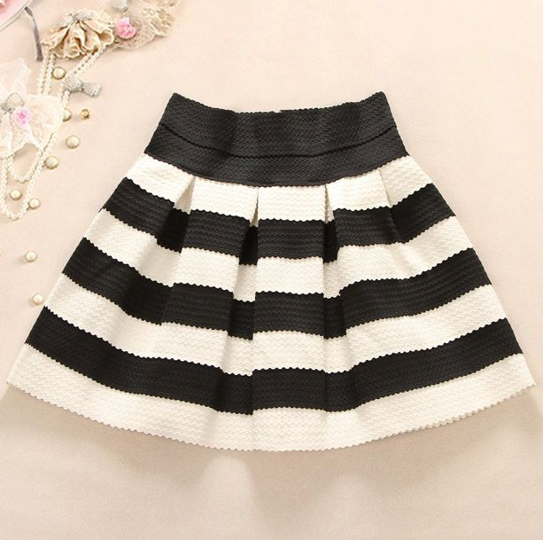 Cute Black And White Stripes Skirt Black And White Skirt White