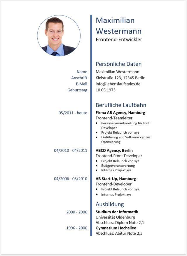 llll➤ Lebenslauf Muster und Vorlagen ✅ tabellarischer Lebenslauf ...