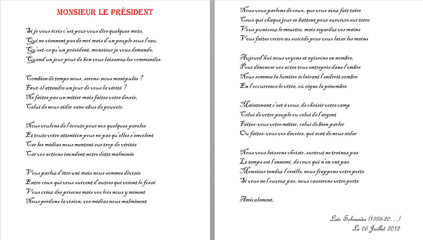 24 Monsieur Le President Poeme Poesie Lettre Personalized Items Person