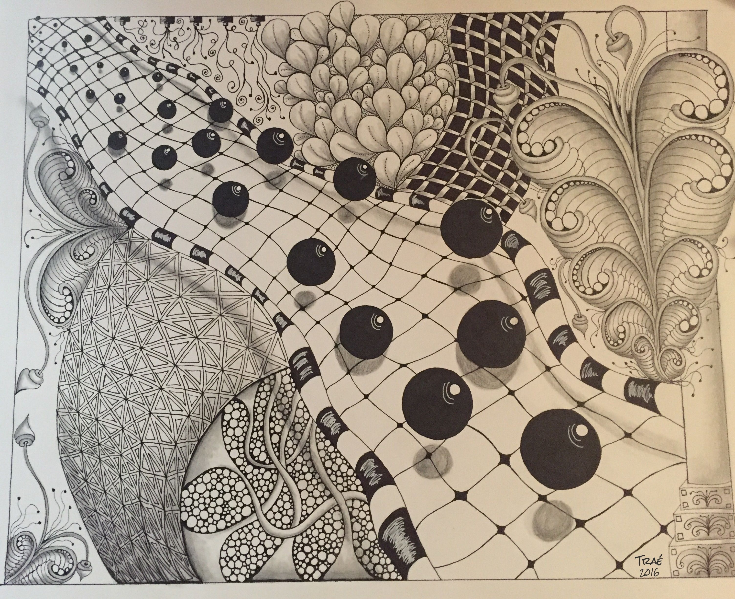 3D Zentangle, Traé Be True Design. Zentangle, 3D, pen and ink ...