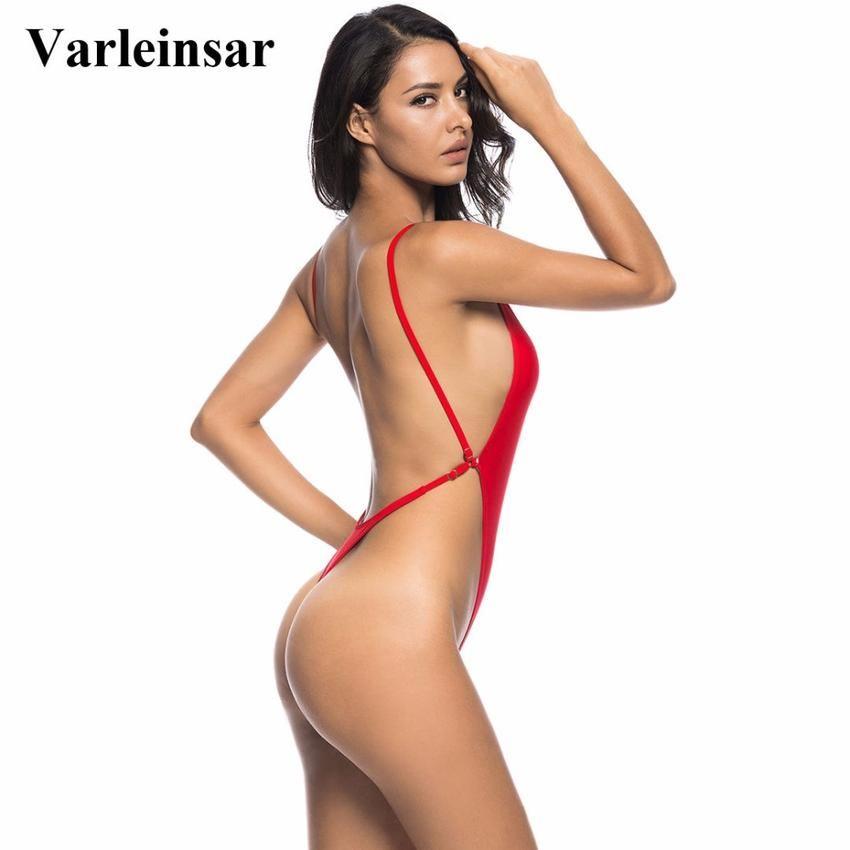 f61fb13043 2018 White Sexy high cut thong one piece swimsuit Women Backless Swimwear  Bathing suit swim wear