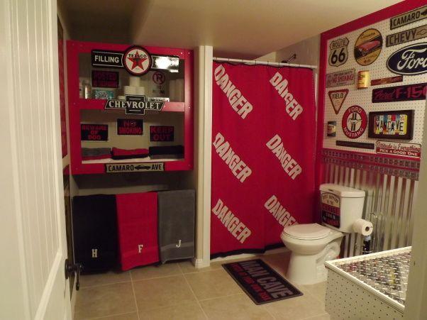 Vintage Auto Themed Bathroom Basement Bath For My Teen Boys Done In
