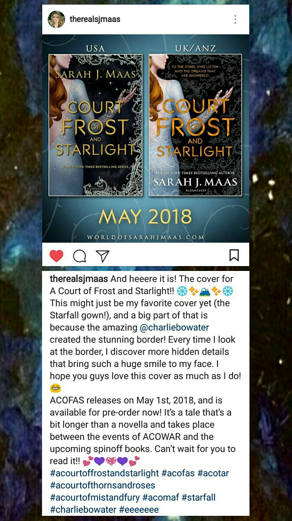 A Court Of Frost And Starlight Cover Reveal With Images A