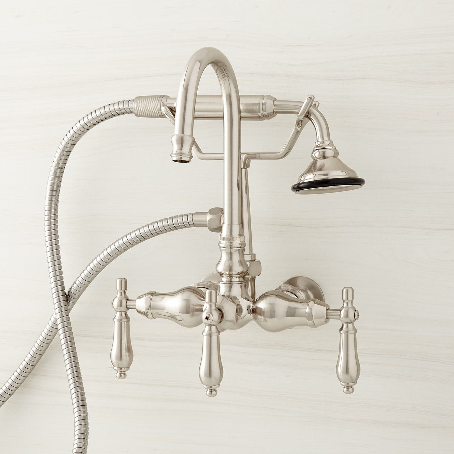 Giagni Contemporary Brushed Nickel 3 Handle Wall Mount Bathtub