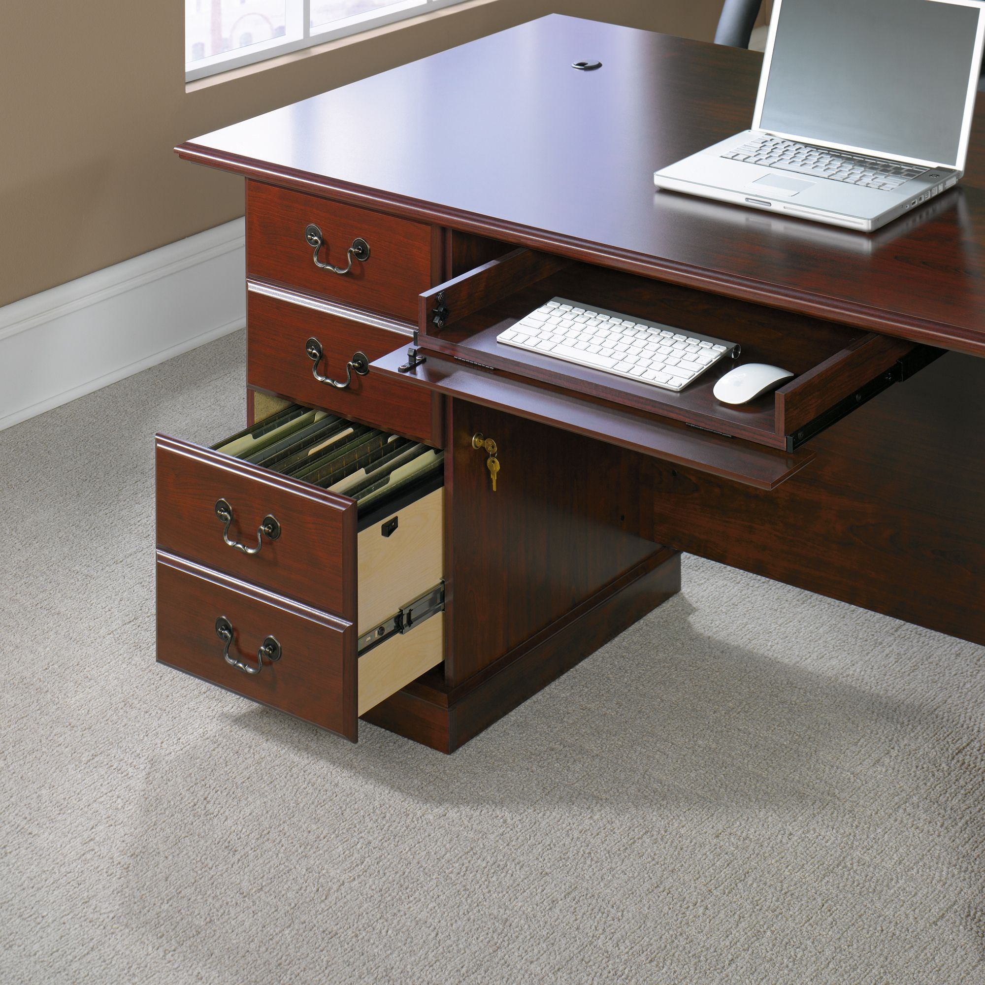 Cherry Custom Home Office Desk Throughout 99 Sauder Heritage Hill Executive Desk Classic Cherry Custom Home Office Furniture Check More