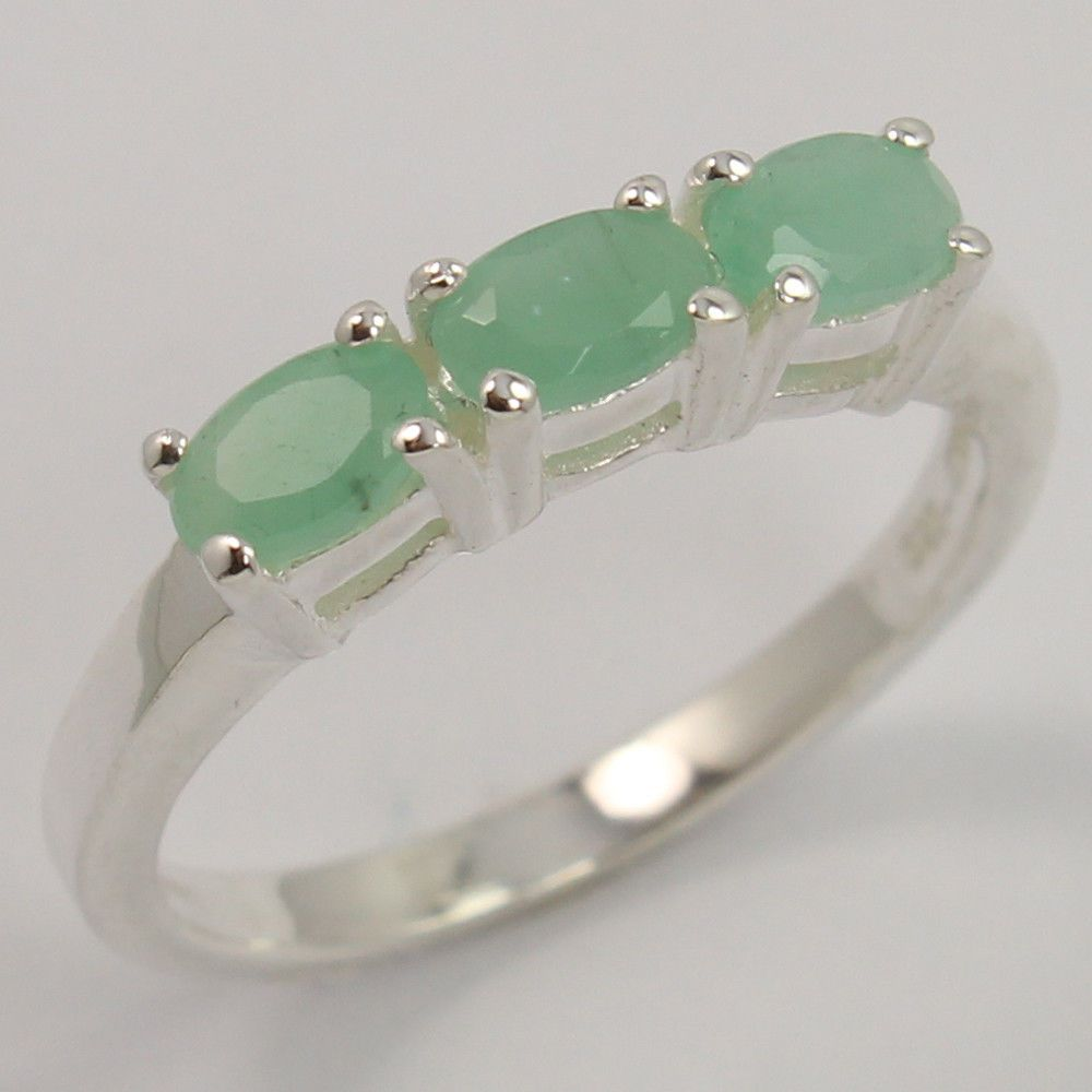 925 Sterling Silver Natural EMERALD Gemstone Ring Size US 5.75 ! Best Gift Store #SunriseJewellers #Fashion