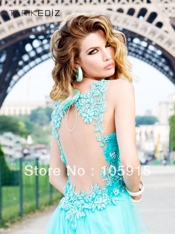 2014 Sexy Fashion Elegant Turquoise/Purple/Pink With Handmade Flower Beads Evening Dresses Prom Dresses Organza CN-62