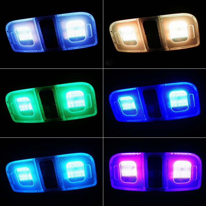2x 5050 Smd Rgb Double Tip Car Wedge Dome Light 6 Led 16 Colors Led Bulb With Remote Controller Flash Strobe Static Dome Lighting Led Bulb Led Color