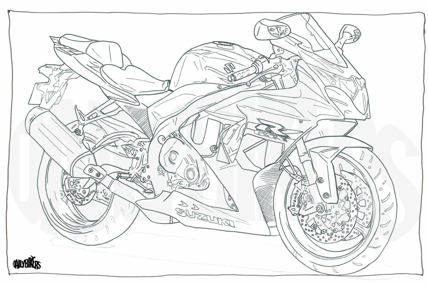 adult colouring page motorcycle illustration motorcycle coloring suzuki gsxr1000 digital download