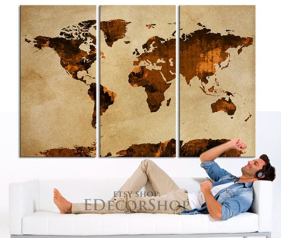 Dark orange and brown world map canvas print on old wall vintage dark orange and brown world map canvas print on old wall vintage large size world gumiabroncs Images