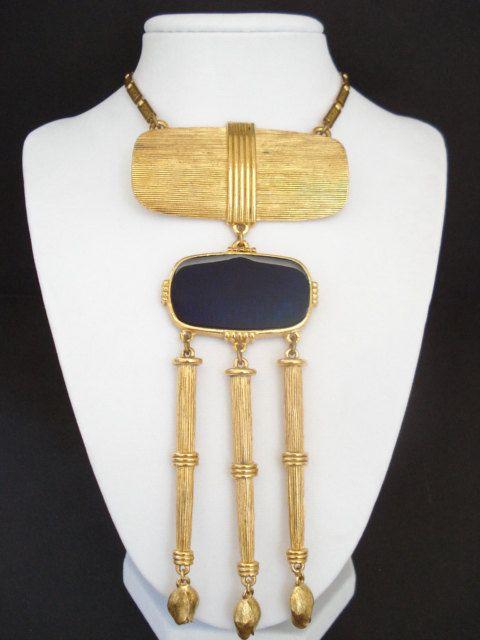 Large Modernist Tassel Pendant Necklace Vintage