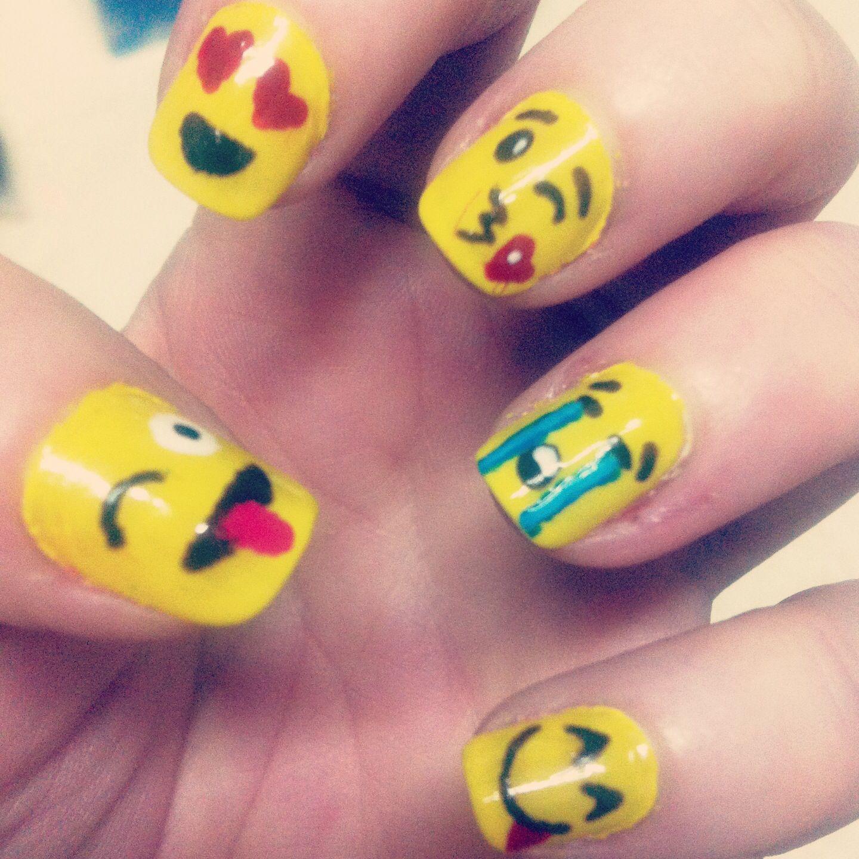 Emoji Smile Faces Nail Art. - 25 Emoji Nail Art Designs Emoji Nails, Nail Stuff And Lady Nails
