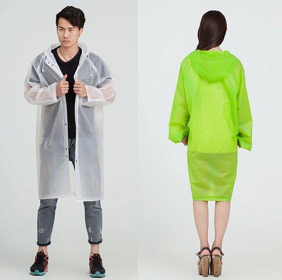 Raincoat Men Women's Trench Coat Long Hooded Rain Coat Poncho Jacket EVA  Transparent Chubasqueros Impermeables Mujer