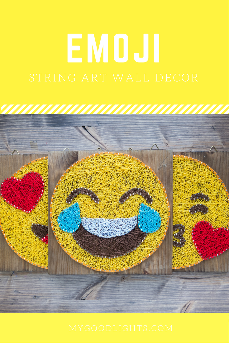 Modern Emoji String Art Wall Decor, yellow heart eye in love emoji ...