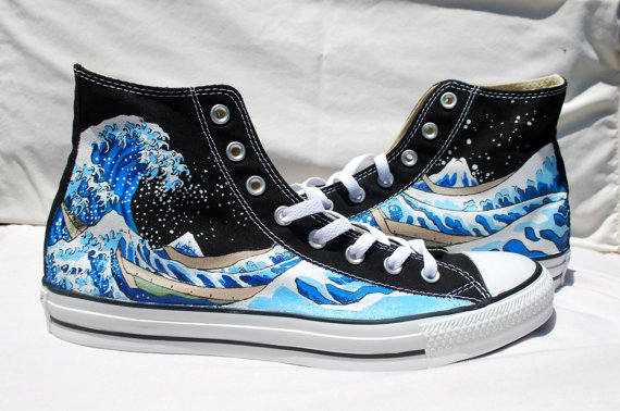 5e6c2b4eb951 Wedding Hand Painted Converse Shoes - The Great Wave Off Kanagawa -Black
