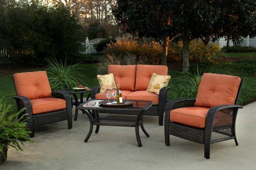 4pc arafel outdoor wicker resin patio sofa seating set furniture rh pinterest com my wicker outdoor furniture lower gibbes street chatswood nsw my wicker outdoor furniture reviews