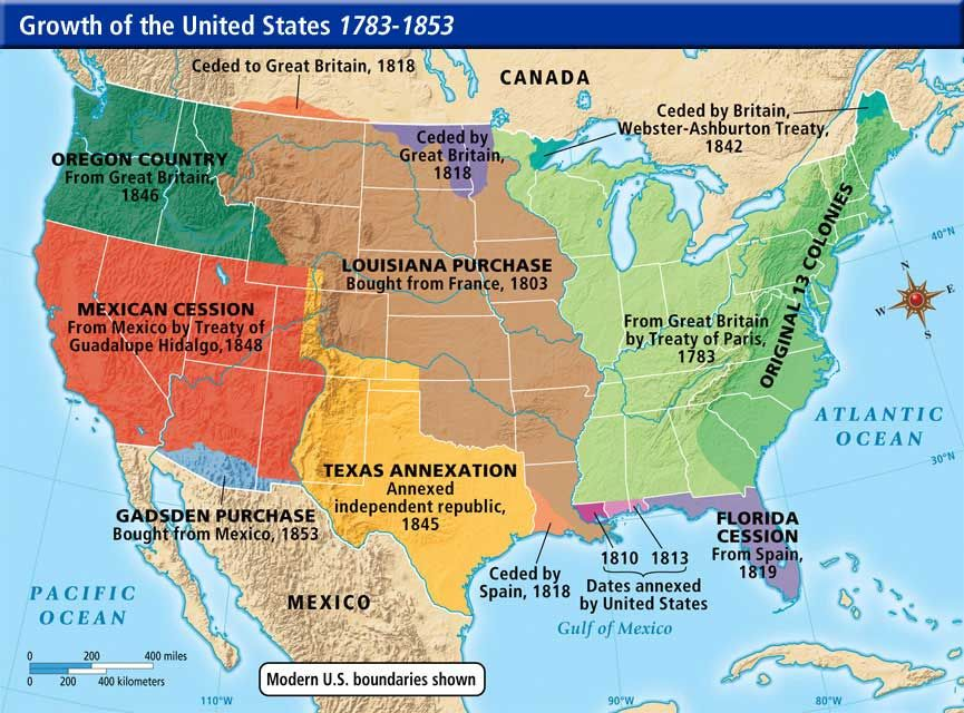 westward expansion map of the usa this is a map of the growth of the us from the years 1783 1853