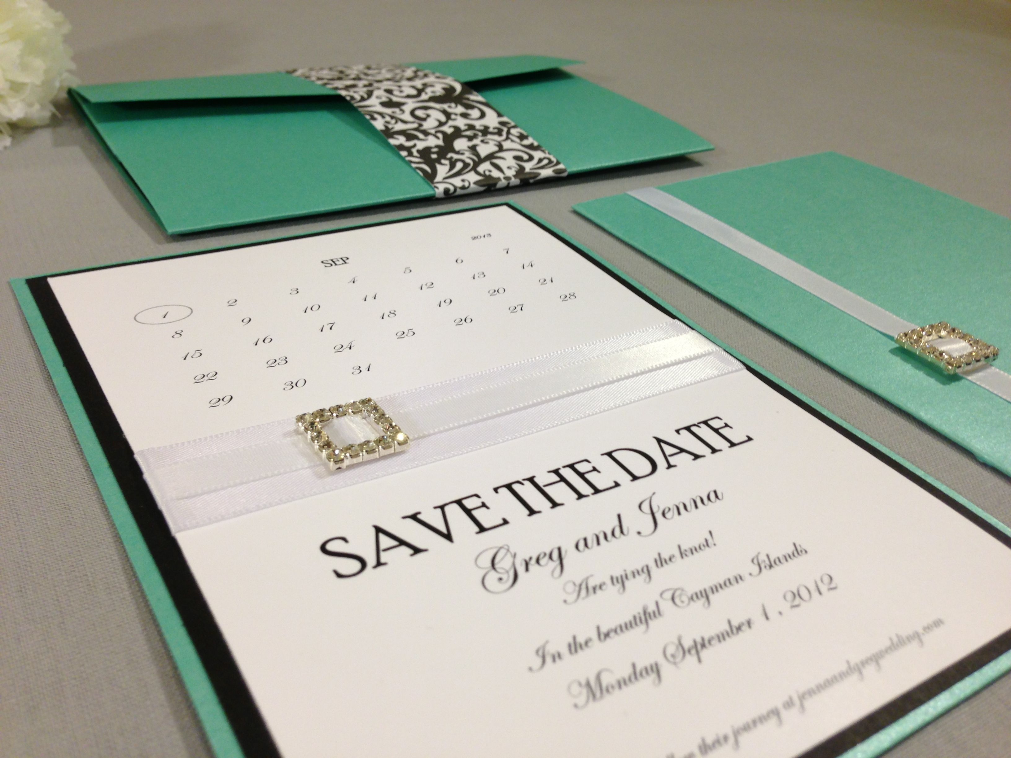 This is a beautiful Tiffany blue and black set adorned with white ...