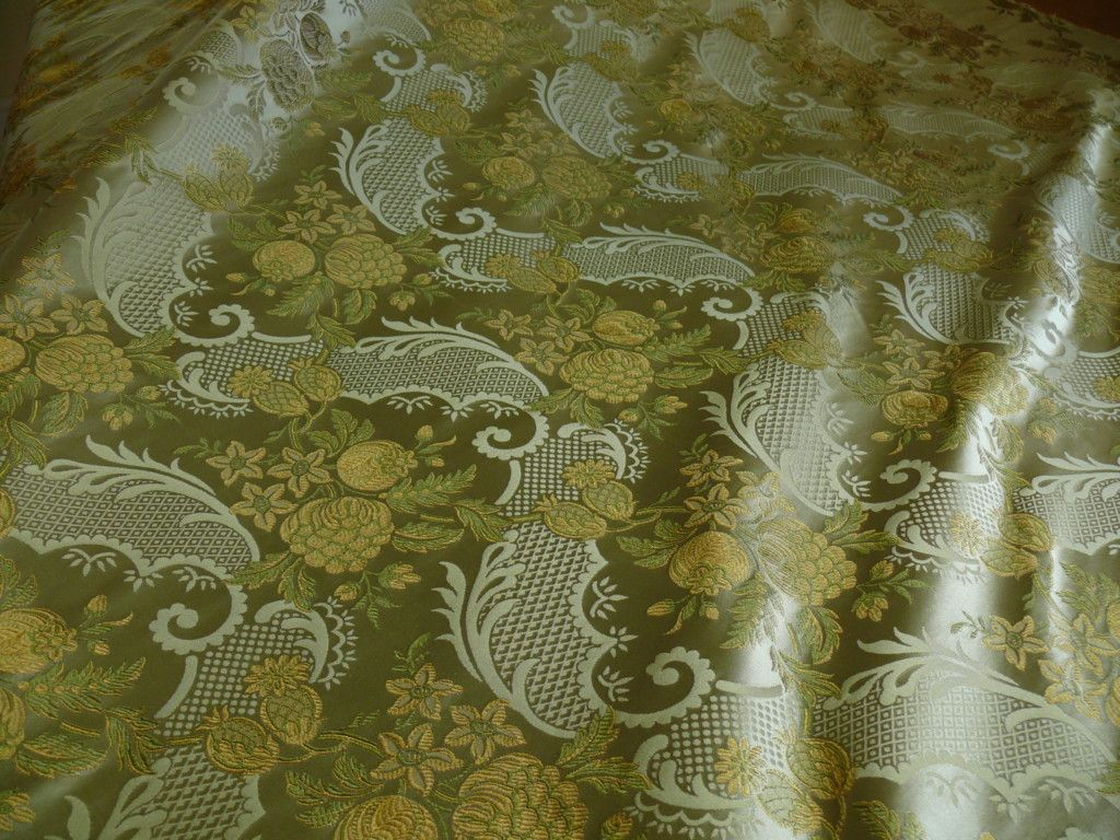 HiEND POM ROSE LACE 100% SILK LAMPAS OLIVE GREEN GOLD