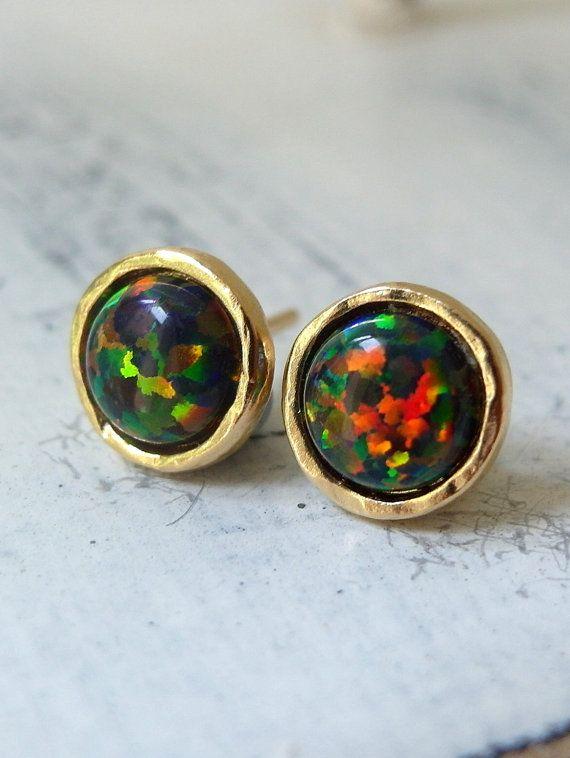 Opal Earrings Black Stud By Eldortinajewelry