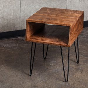 ea2237f684f4 Black Walnut Side Table with hairpin legs