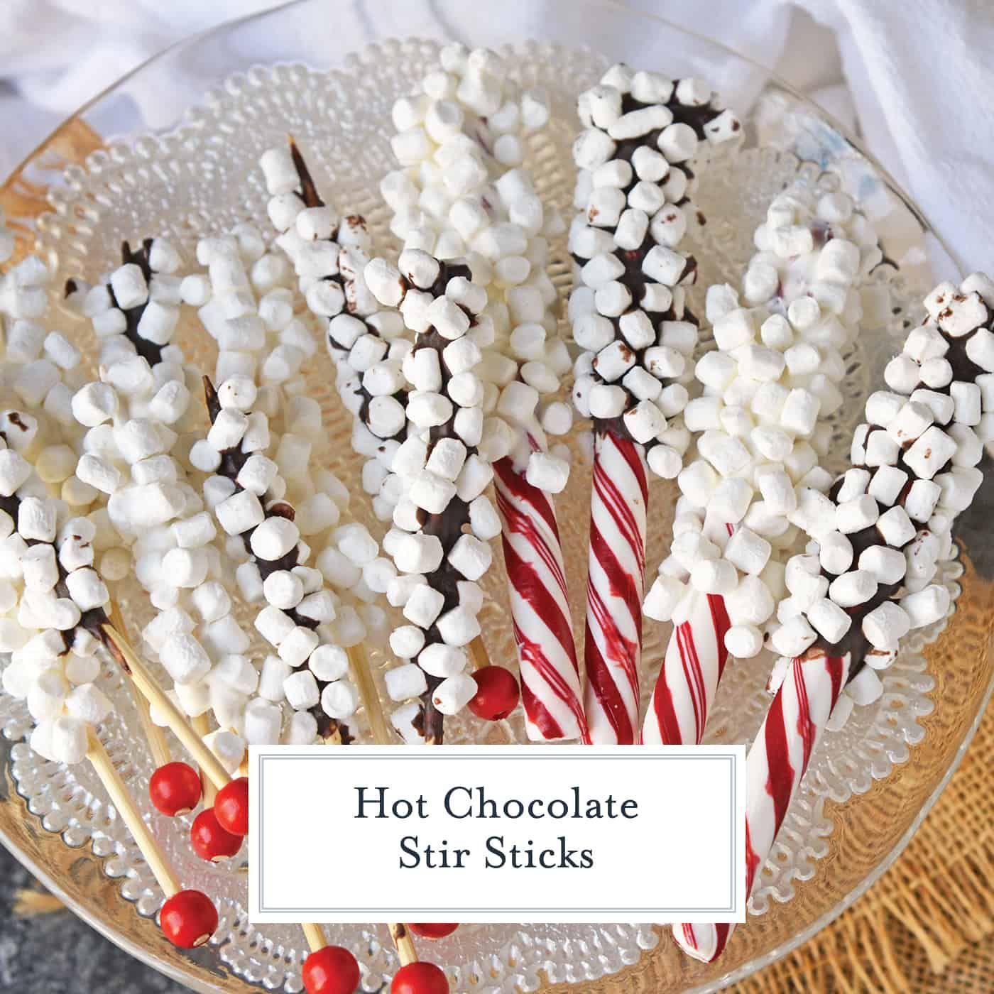 Hot Chocolate Stir Sticks will take your homemade hot chocolate to the next level. Like chocolate spoons, they add marshmallows and more to your drink! #chocolatespoons #hotchocolatestirsticks www.savoryexperiments.com #hotchocolatebar