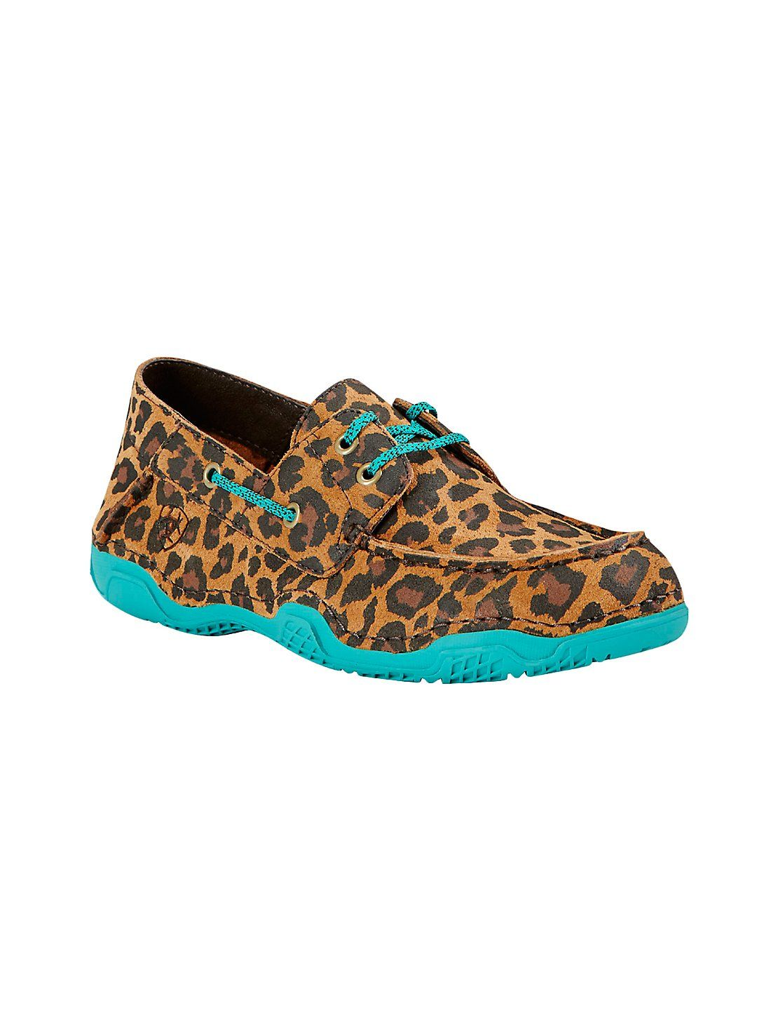 Ariat Women's Tan Leopard Print with Turquoise Trim Round Toe Shoe ...