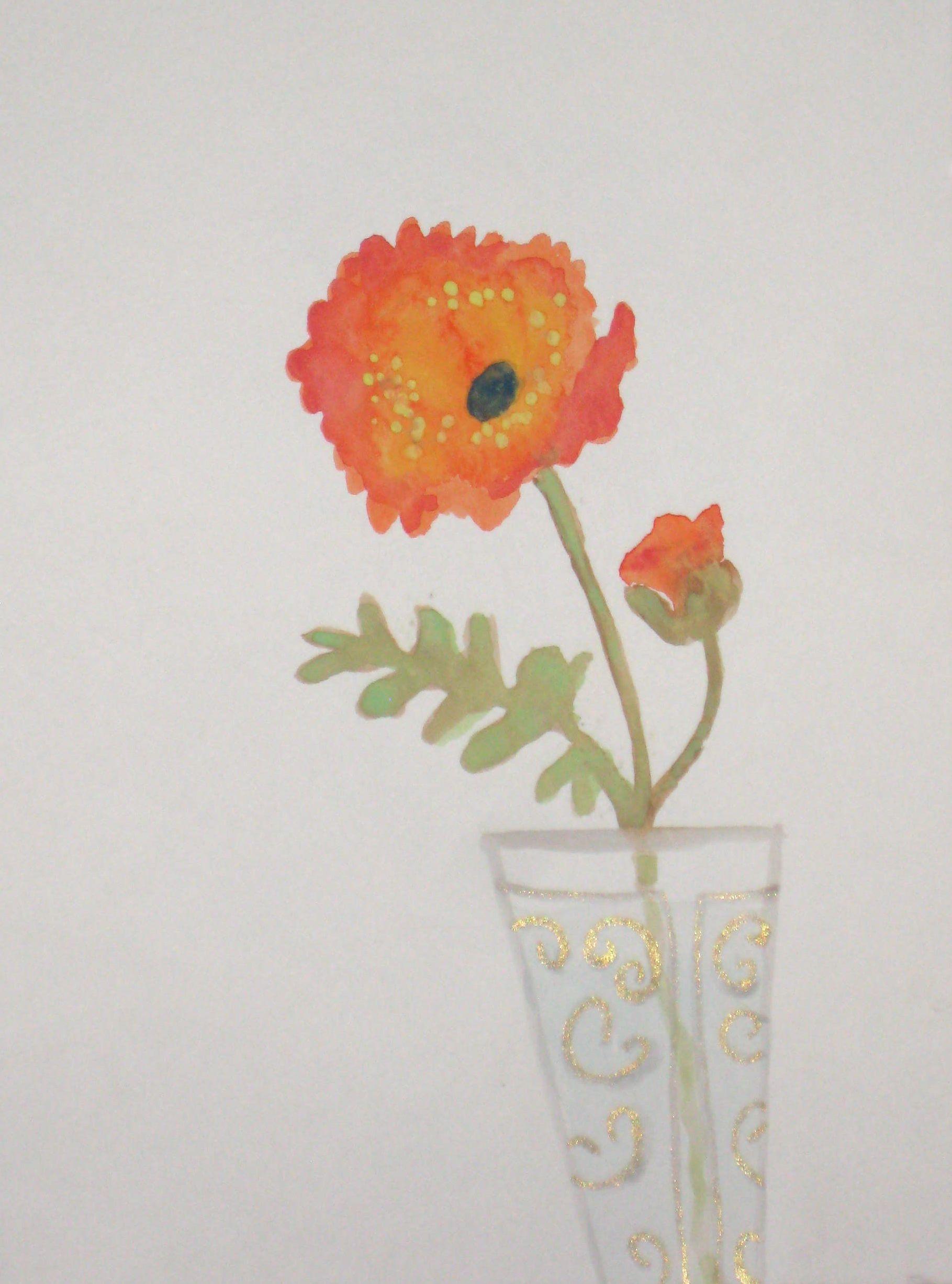 Red Poppy Flower In Vase Xoxo Nono Noelle Palm Watercolor