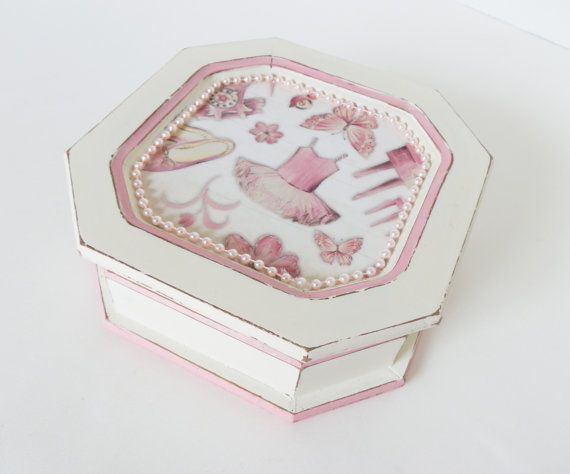 Girls Jewelry Box Ballet Theme Upcycled Jewelry Organizer Ballet