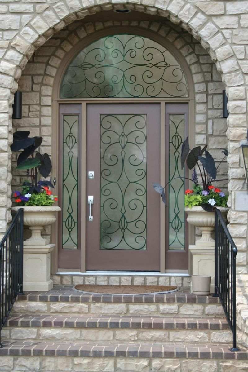 Round top front door window inserts - Sweet Brown Wood Lighted Masonite Exterior Entry Doors Design Collections With Rectangle Shaped Glass Doorlite Complete