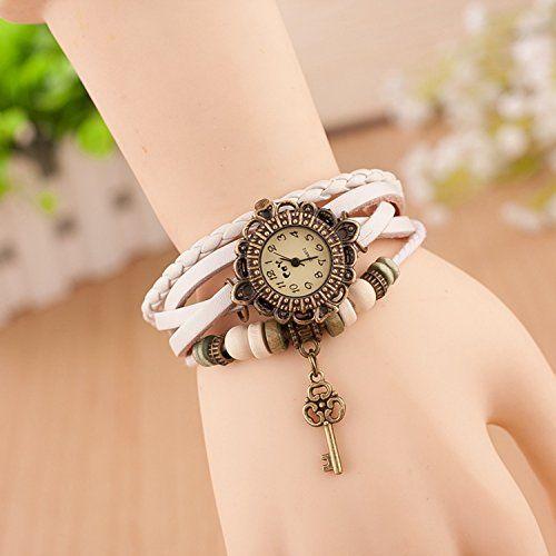 Retro Quarzuhr Armreif Leder Armbanduhr Damenuhr Uhr Kaffeebraun Schlüssel Weiß - http://uhr.haus/sanwood/weiss-retro-quarzuhr-armreif-leder-armbanduhr-3
