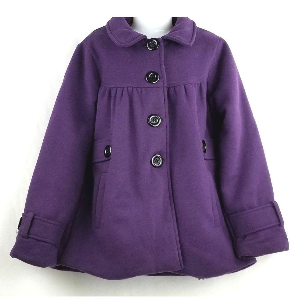 01bdf667 Cutie Fashion Girls Dark Purple Jacket Pea Coat Winter Fall Lined Size  Large #CutieFashion #BasicCoat #DressyEverydayHoliday