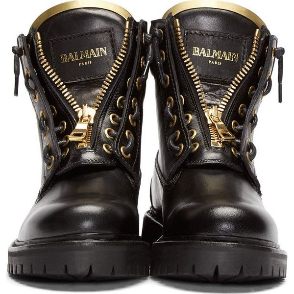 Balmain Black Leather Taiga Ranger Boot ($1,285) ❤ liked on Polyvore featuring shoes, boots, kohl boots, leather zipper boots, black zip boots, zip boots and balmain shoes