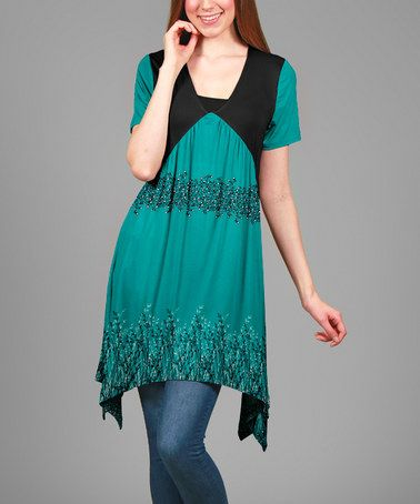 Another great find on #zulily! Black & Turquoise Floral Layered Sidetail Tunic #zulilyfinds