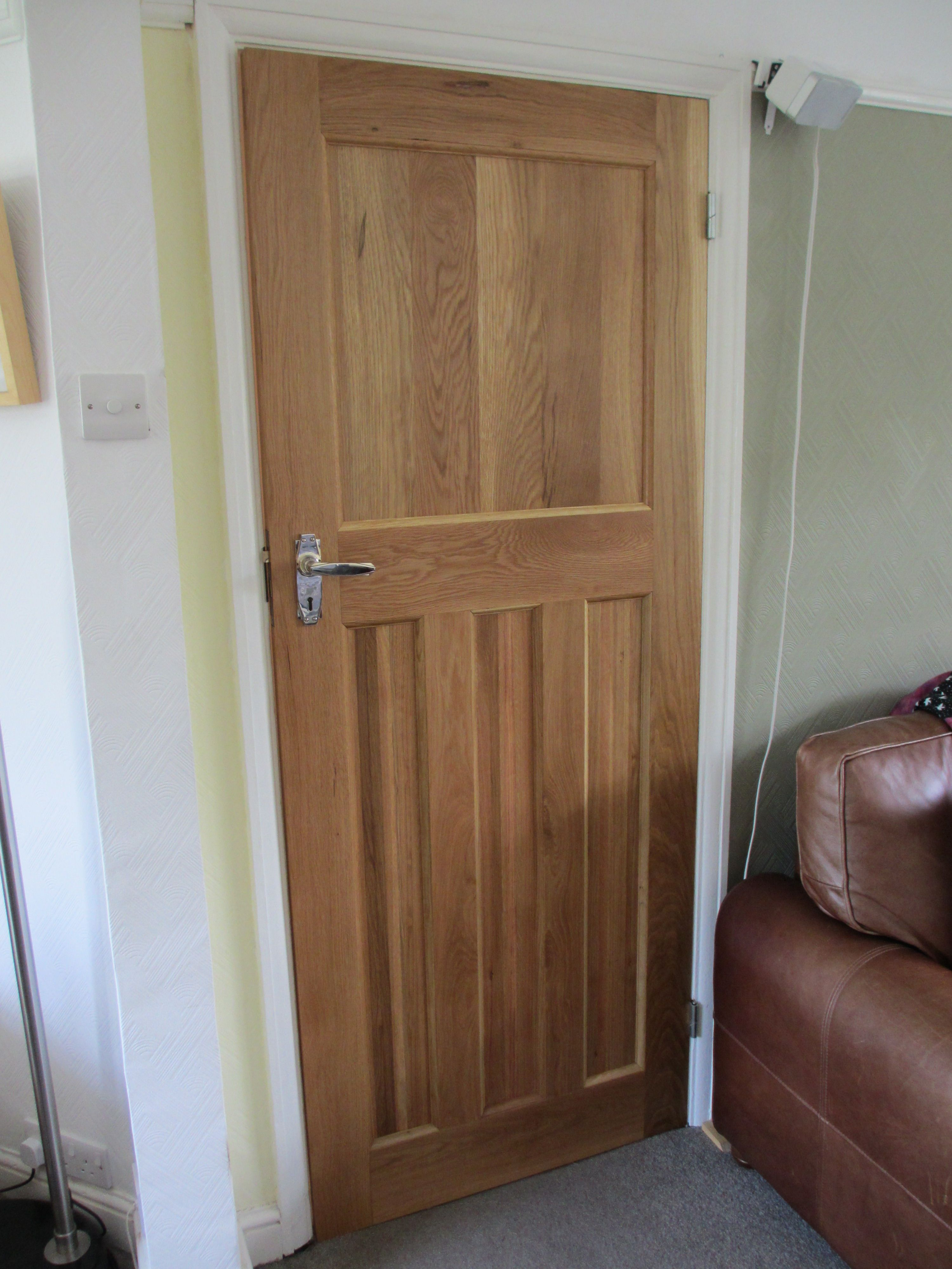 Solid oak internal 1930 39 s style door one over three panel for 1930s interior door handles