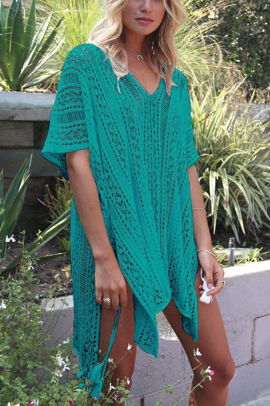 6aaecf5cc2 Mint Crochet Knitted Tassel Tie Kimono Beachwear. Mint Crochet Knitted  Tassel Tie Kimono Beachwear Bikini Cover Up, Swimsuit ...