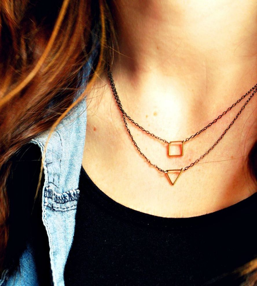 Geometric Brass Charm Necklaces – Set of 2
