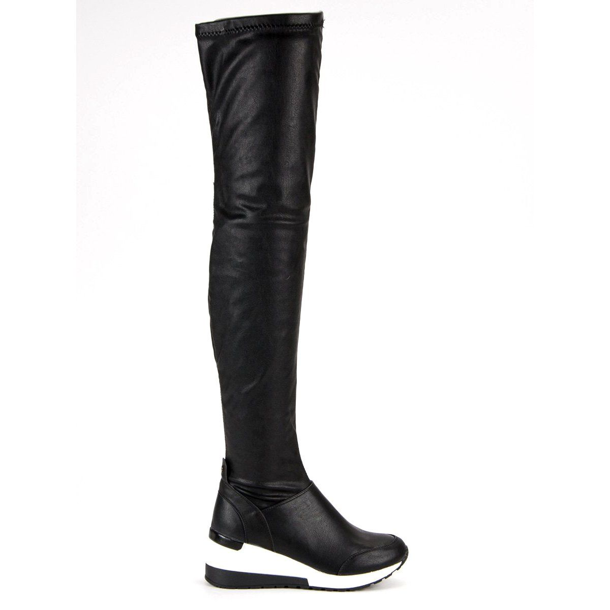 Sds Sportowe Kozaki Na Koturnie Czarne Boots Over Knee Boot Shoes