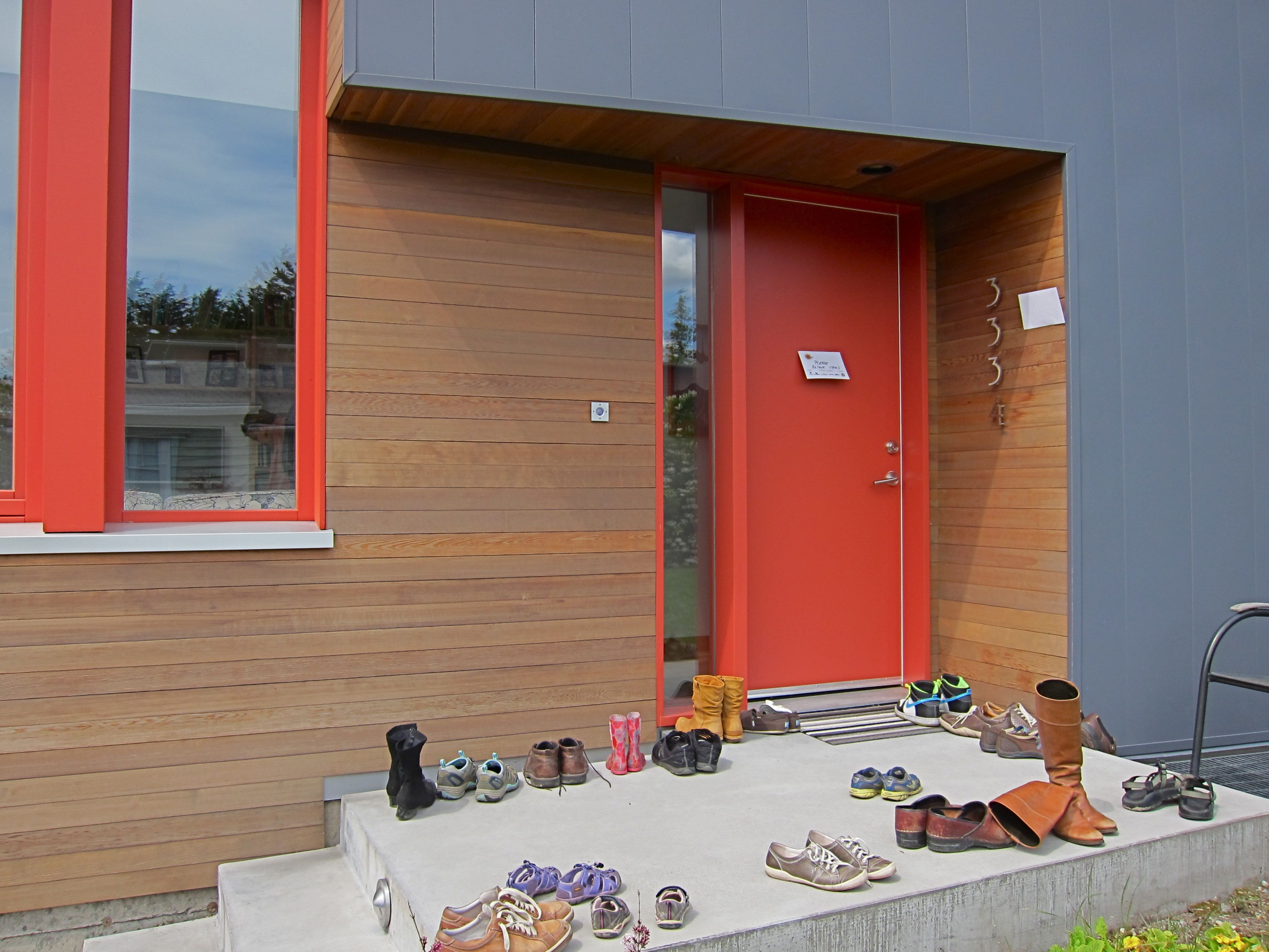 A crowded entry - Burke Gilman (passive solar) House.