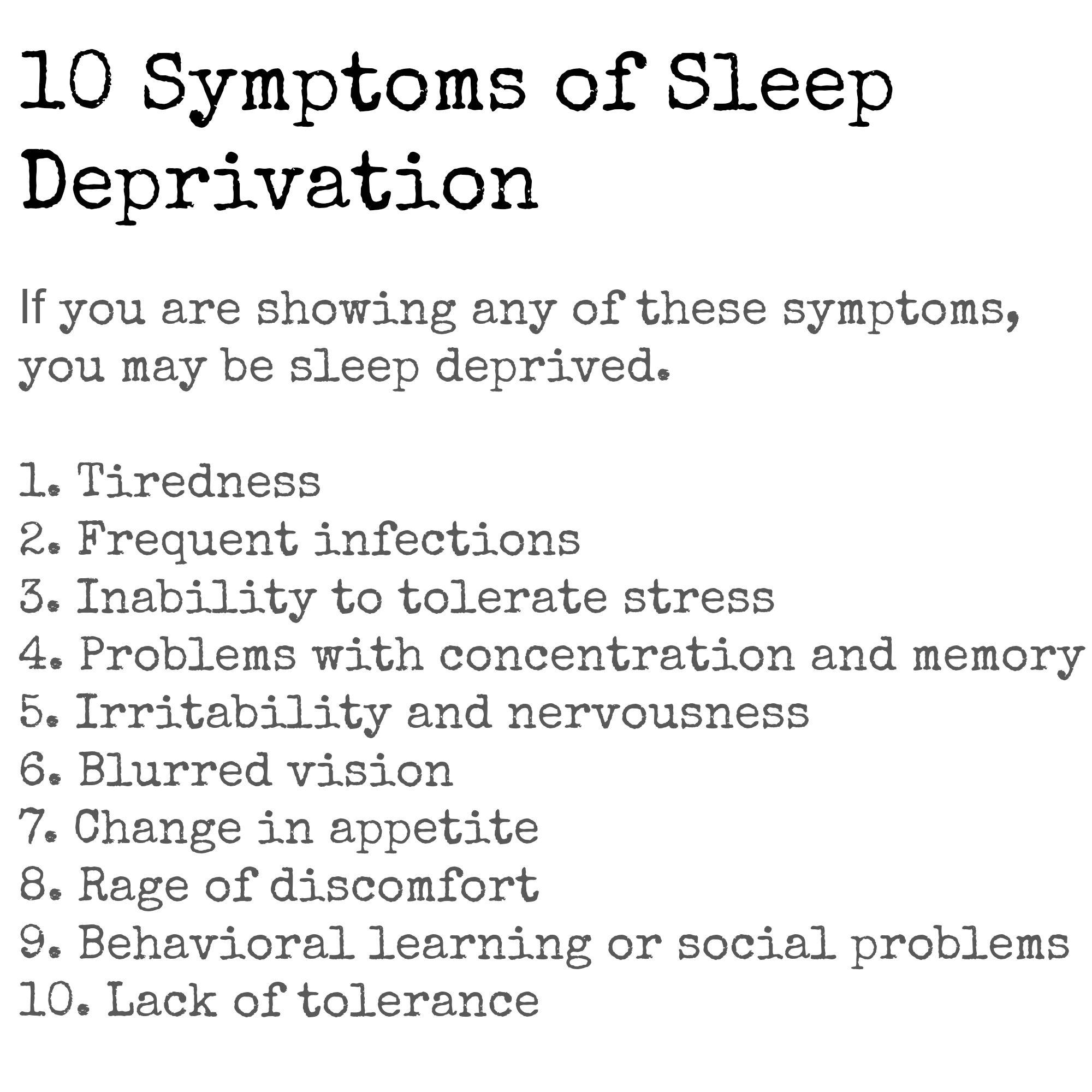 10 Symptoms Of Sleep Deprivation Www Wenatex Com Au Wenatex