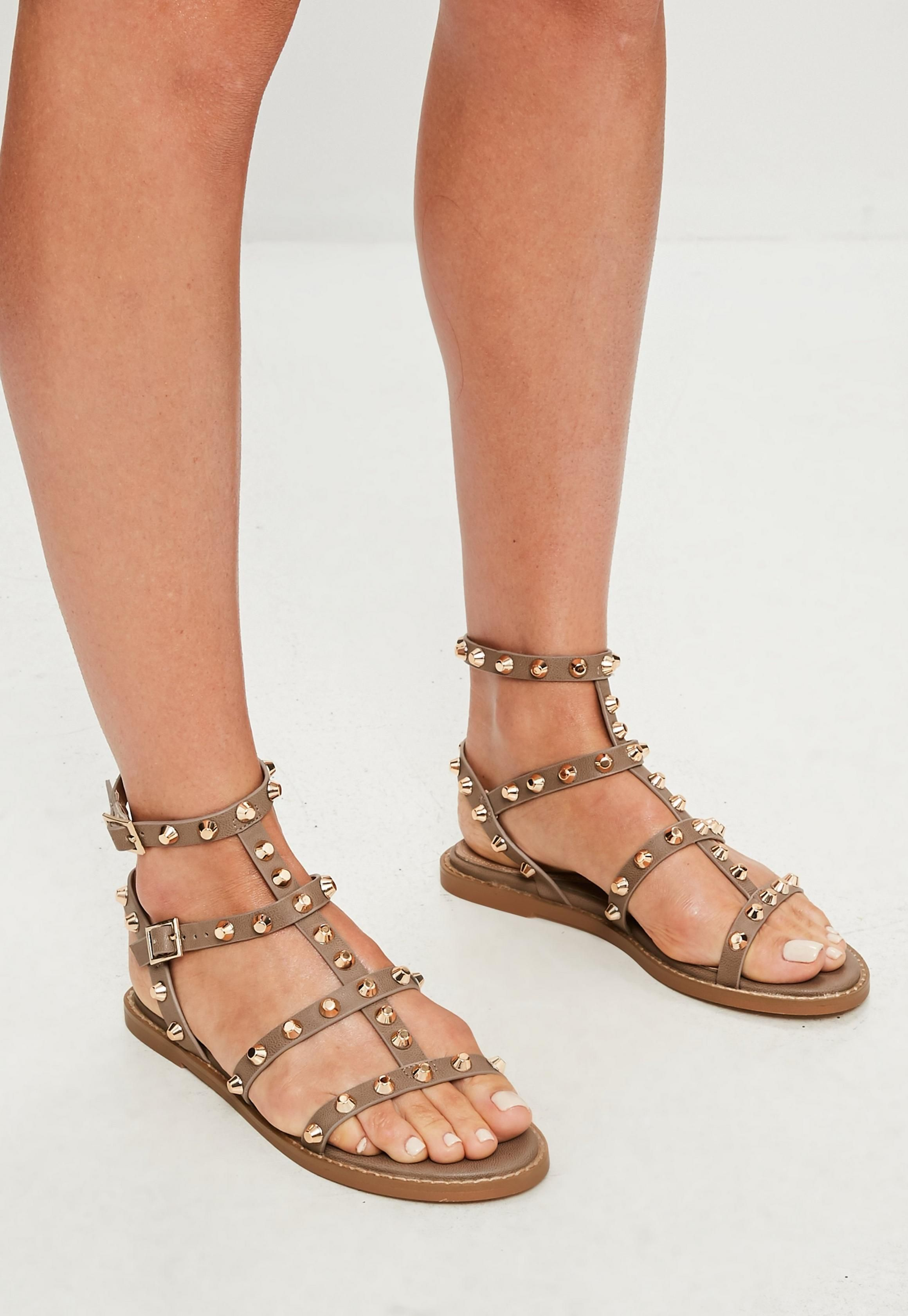 Missguided - Brown Studded Gladiator