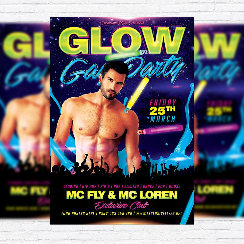 Gay Glow Party  Premium Flyer Template  Facebook Cover  Flyer