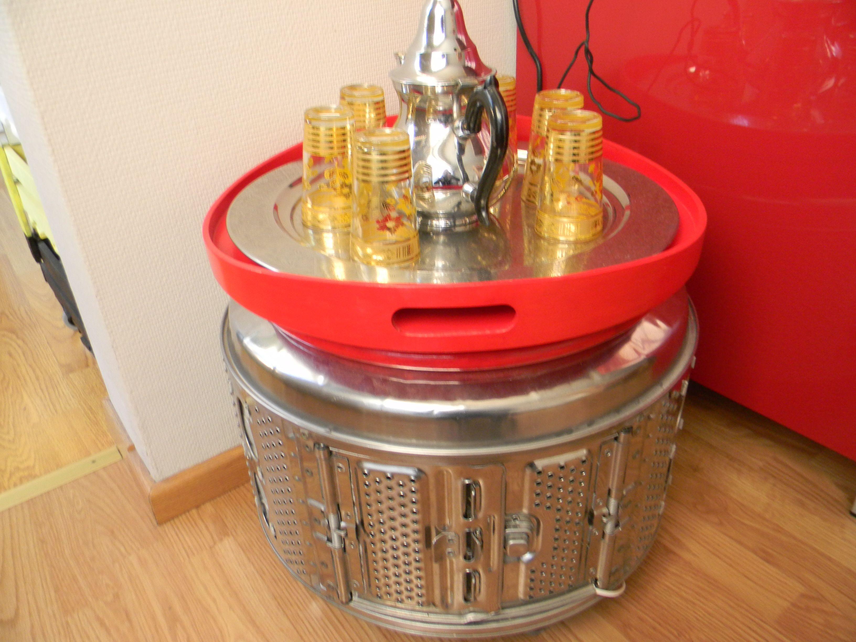 Table Basse Tambour Machine A Laver Avec Plateau Ensemble