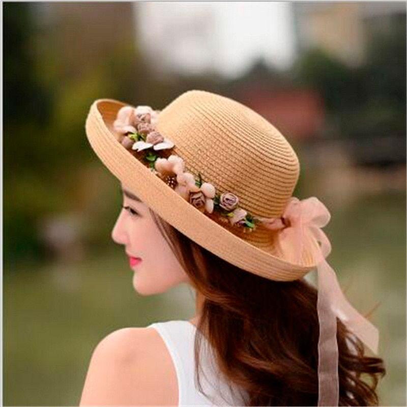 42bc6aaf Summer Handmade Flower Straw Hat Women's Garland Sunbonnet Bucket Hat Roll-up  Hem Beach Cap