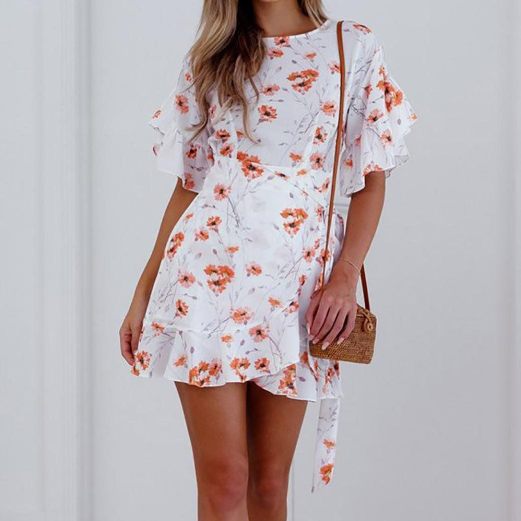 fbff43982b86 Caopixx Chiffon Beach Dress2018 Womens Summer Boho Dress Petal Sleeve Beach  Floral Mini Dress Asia Size XL White >>> Continue to the product at the  image ...