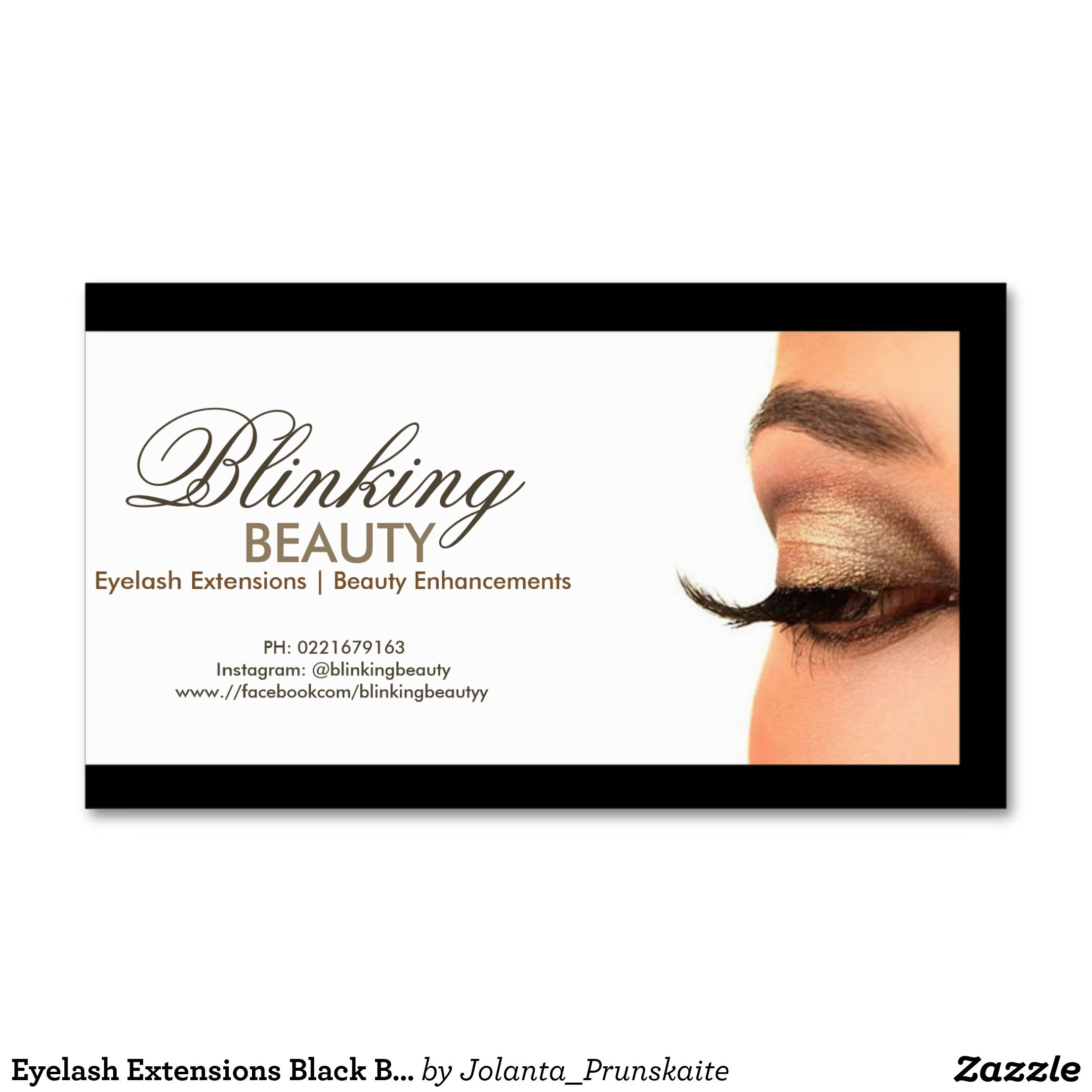 Eyelash extensions black border simple white card business cards for Eyelash extension business cards